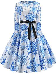 cheap -Women's Christmas Festival Vintage Basic Swing Dress - Snowflake Santa Claus, Patchwork Print Blue S M L XL
