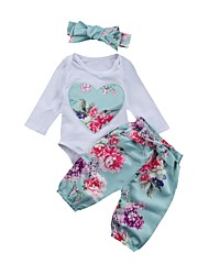 cheap -Baby Girls' Basic Daily Blue & White Floral Embroidered Print Long Sleeve Long Regular Clothing Set White / Toddler