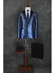 cheap -Patterned Tailored Fit Polyester Suit - Notch Single Breasted One-button / Suits