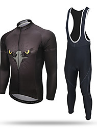 cheap -XINTOWN Men's Long Sleeve Cycling Jersey with Bib Tights Black Eagle Bike Pants / Trousers Jersey Bib Tights Breathable 3D Pad Reflective Strips Back Pocket Limits Bacteria Winter Sports Polyester