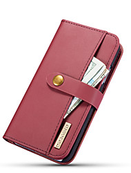 cheap -Case For Apple iPhone XS / iPhone X Wallet / Card Holder / with Stand Full Body Cases Solid Colored Hard Genuine Leather