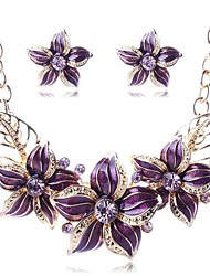 cheap -Women's Multicolor Cubic Zirconia Stud Earrings Pendant Necklace Trace Leaf Flower Ladies Stylish Sweet Elegant Rhinestone Earrings Jewelry Black / Purple / Blue For Gift Date 1 set
