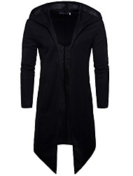 abordables -Homme Quotidien Printemps / Automne Longue Manteau, Couleur Pleine Capuche Manches Longues Coton Noir / Mince