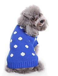 cheap -Dogs Sweater Winter Dog Clothes Blue Pink Costume Bulldog Shiba Inu Cocker Spaniel Terylene Spots & Checks Yarn Dyed Character Spots & Checks Sweet Style S M L XL XXL