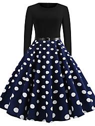 cheap -Women's Swing Dress Knee Length Dress - Long Sleeve Polka Dot Spring Fall Elegant Vintage Holiday Going out Cotton Black Blue Red S M L XL XXL