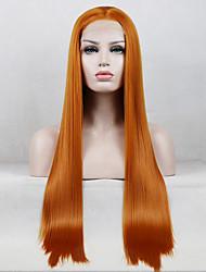 Недорогие -Синтетические кружевные передние парики Прямой Стиль Свободная часть Лента спереди Парик Золотистый Оранжевый Искусственные волосы 18-26 дюймовый Жен. Регулируется Кружева Жаропрочная Золотистый Парик