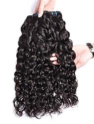 cheap -4 Bundles Brazilian Hair Water Wave Human Hair Unprocessed Human Hair Natural Color Hair Weaves / Hair Bulk Hair Care Extension 8-28 inch Natural Color Human Hair Weaves Extender Silky Best Quality