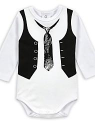cheap -Baby Boys' Active / Basic Daily / Sports Black & White Print Printing Long Sleeve Cotton Romper White