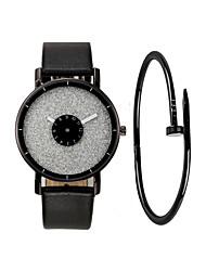 cheap -Couple's Wrist Watch Quartz Gift Set Leather Black / White Chronograph Cute Luminous Analog Bangle Elegant - Light Black White  / Silver Black / White One Year Battery Life