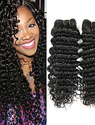 cheap -4 Bundles Deep Wave Human Hair Unprocessed Human Hair Natural Color Hair Weaves / Hair Bulk Extension Bundle Hair 8-28 inch Natural Color Human Hair Weaves Smooth Easy dressing Extention Human Hair