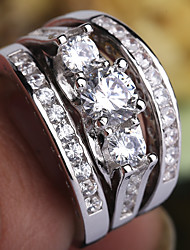 cheap -Women's Ring Ring Set Midi Rings AAA Cubic Zirconia 3pcs Silver Copper Platinum Plated Imitation Diamond Four Prongs Ladies Trendy Romantic Party Date Jewelry Layered Past Present Future Precious