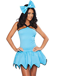 cheap -Maid Costume Uniforms Cosplay Costume Party Costume Costume Fancy Costume Adults Highschool Women's Cosplay Halloween Halloween Carnival Masquerade Festival / Holiday Spandex Polyester Blue Carnival