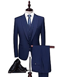 cheap -Solid Colored Tailored Fit Polyester Suit - Peak Single Breasted One-button / Suits