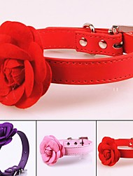 cheap -Dogs Collar Portable Retractable For Dog / Cat Solid Colored Flower / Floral PU Leather / Polyurethane Leather Purple Red Pink