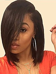 cheap -Remy Human Hair Full Lace Lace Front Wig Asymmetrical style Brazilian Hair Straight Natural Straight Natural Black Wig 130% 150% 180% Density with Baby Hair Women Easy dressing Best Quality Fashion