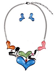 cheap -Women's Multicolor Cubic Zirconia Stud Earrings Bib necklace Belcher Heart Ladies Stylish Romantic Sweet Silicone Rhinestone Earrings Jewelry Red / Blue For Gift Date 1 set