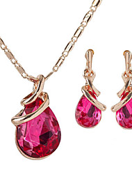 cheap -Women's Gemstone Bridal Jewelry Sets Classic Ladies Stylish Simple Elegant Gold Plated Earrings Jewelry Purple / Red / Dark Blue For Party Gift