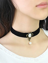 cheap -Women's Choker Necklace Classic Ladies Doll's Lolita Imitation Pearl Velvet Black 30+8 cm Necklace Jewelry 1pc For Daily Festival