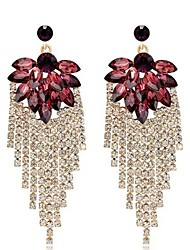 cheap -Women's Synthetic Amethyst Drop Earrings Leaf Ladies Stylish Classic Rhinestone Earrings Jewelry Gold For Daily 1 Pair