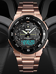 cheap -SKMEI Men's Sport Watch Digital Watch Digital Casual Water Resistant / Waterproof Analog - Digital Black Gold Green / Stainless Steel / Calendar / date / day / Dual Time Zones / Stopwatch