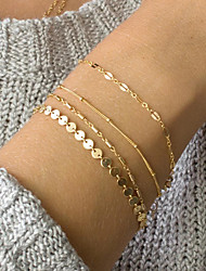 cheap -4pcs Women's ID Bracelet Link / Chain Dainty Ladies Trendy Elegant Delicate Alloy Bracelet Jewelry Gold / Silver For Daily Work