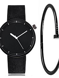 cheap -Couple's Wrist Watch Quartz Gift Set Leather Black / White / Brown Chronograph Cool Punk Analog Minimalist Vintage - White Black Purple One Year Battery Life / Stainless Steel