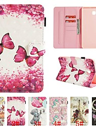 cheap -Case For Samsung Galaxy Tab E 8.0 / Tab A 7.0 Card Holder / with Stand / Flip Full Body Cases Animal / 3D Cartoon / Flower Hard PU Leather