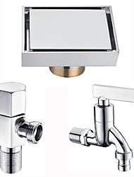 cheap -Drain Multifunction Modern Brass 3pcs - Bathroom / Hotel bath Floor Mounted