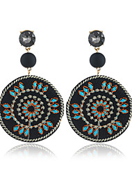 cheap -Women's Hoop Earrings Vintage Style Ladies European Ethnic Austria Crystal Earrings Jewelry Black For Street 1 Pair