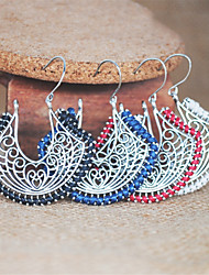 cheap -Women's Hoop Earrings Vintage Style Totem Series Ladies Ethnic Boho Elegant Earrings Jewelry Black / Red / Blue For Holiday Club 1 Pair