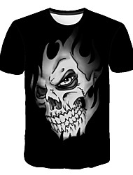 cheap -Men's Going out Weekend Active / Street chic Plus Size T-shirt - Skull Print Round Neck Black / Short Sleeve
