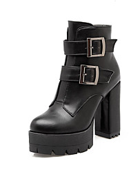 cheap -Women's Combat Boots PU(Polyurethane) Fall & Winter Boots Chunky Heel Round Toe Booties / Ankle Boots Buckle Black / Gray / Red