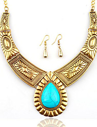 cheap -Women's Turquoise Drop Earrings Statement Necklace Vintage Style Ladies Stylish Unique Design Oversized western style Silver Plated Gold Plated Earrings Jewelry Gold / Silver For Gift Night