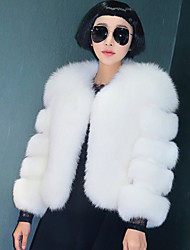 cheap -Long Sleeve Faux Fur Wedding / Party / Evening Women's Wrap With Solid Coats / Jackets
