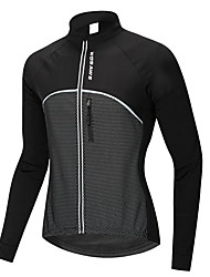 cheap -WOSAWE Men's Women's Long Sleeve Cycling Jacket Winter Fleece 100% Polyester Black Bike Sweatshirt Jersey Mountain Bike MTB Road Bike Cycling Thermal / Warm Waterproof Windproof Sports Clothing
