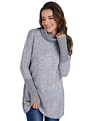 cheap -Women's Daily Basic Patchwork Color Block Long Sleeve Puff Sleeve Regular Pullover, Turtleneck Fall / Winter Dark Gray / Light Brown / Light gray S / M / L / High Waist