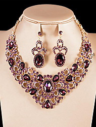 cheap -Women's Gemstone High End Crystal Bridal Jewelry Sets Hollow Out Flower Ladies Luxury Unique Design European Indian Gold Plated Earrings Jewelry White / Purple / Champagne For Wedding Party Prom