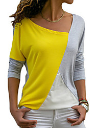 cheap -Women's T-shirt Color Block Long Sleeve Round Neck Tops Loose Basic Top Blue Yellow Gray