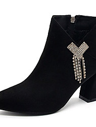 cheap -Women's Boots Fashion Boots Block Heel Pointed Toe PU Booties / Ankle Boots Casual Fall & Winter Black