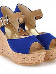 cheap -Women's Sandals Wedge Sandals Wedge Heel PU Spring Black / Red / Blue