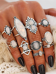 cheap -Women's Statement Ring Ring Set Midi Rings Opal 10pcs Silver Stone Alloy Geometric Drops Oval Ladies Unusual Unique Design Evening Party Club Jewelry Vintage Style Drop Cool Lovely