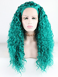 cheap -Synthetic Lace Front Wig Water Wave Loose Curl Free Part Lace Front Wig Long Green Synthetic Hair 18-26 inch Women's Heat Resistant Synthetic Best Quality Green