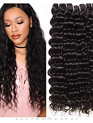 cheap -3 Bundles Brazilian Hair Deep Curly Virgin Human Hair 100% Remy Hair Weave Bundles Headpiece Natural Color Hair Weaves / Hair Bulk Hair Care 8-28 inch Natural Color Human Hair Weaves Extender Soft