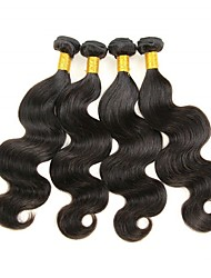 cheap -4 Bundles Body Wave Human Hair Unprocessed Human Hair Natural Color Hair Weaves / Hair Bulk Extension Bundle Hair 8-28 inch Natural Color Human Hair Weaves Smooth Designs Easy dressing Human Hair