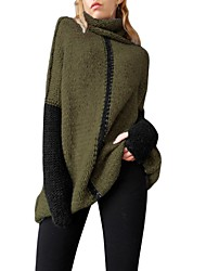 cheap -Women's Daily Basic Oversized / Oversize Color Block Long Sleeve Puff Sleeve Loose Regular Pullover, Turtleneck Fall / Winter Gray / Light Brown / Army Green S / M / L / High Waist