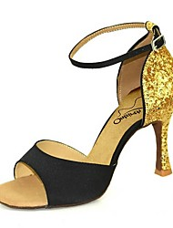 cheap -Women's Dance Shoes Satin Latin Shoes Sparkling Glitter Heel Flared Heel Black / Gold / Black / Silver / Black / Red / Performance / Leather / Practice