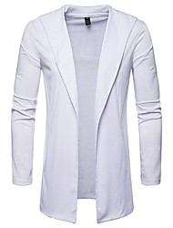 cheap -Men's Daily Solid Colored Long Sleeve Regular Cardigan Sweater Jumper, Hooded Black / Light gray / White S / M / L