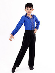 cheap -Latin Dance Outfits Performance Polyester Ruffles / Polka Dot Long Sleeve High Top / Pants