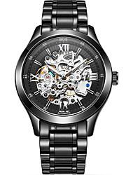 Недорогие -Angela Bos Муж. Часы со скелетом Механические часы С автоподзаводом Нержавеющая сталь Черный / Золотистый 30 m Защита от влаги С гравировкой Повседневные часы Аналоговый На каждый день Мода -