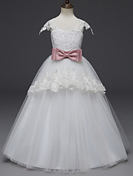 cheap -Princess Long Length Wedding / First Communion Flower Girl Dresses - Lace / Tulle Cap Sleeve Scoop Neck with Belt / Appliques